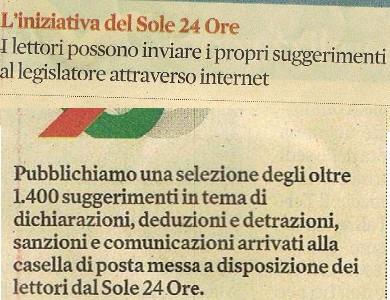 """PUBBLICATA DA """"IL SOLE 24 ORE"""" LA PROPOSTA DI CLETO IAFRATE PER RIDURRE IL DEBITO PUBBLICO"""