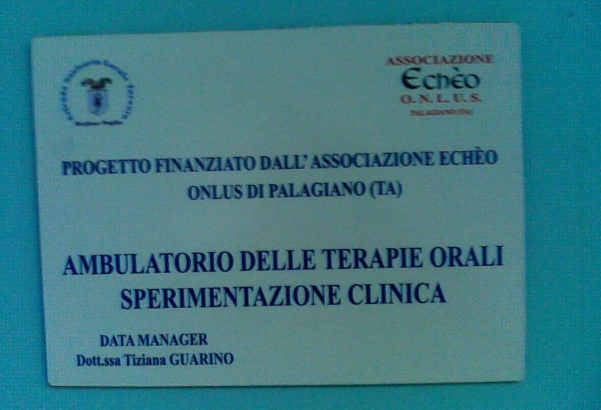 """Ass. Echeo: """"  dal 1° novembre scorso è stato istituito il Laboratorio di Terapie Orali e Sperimentazioni Cliniche presso il Reparto di Oncologia dell'Ospedale di Castellaneta"""""""