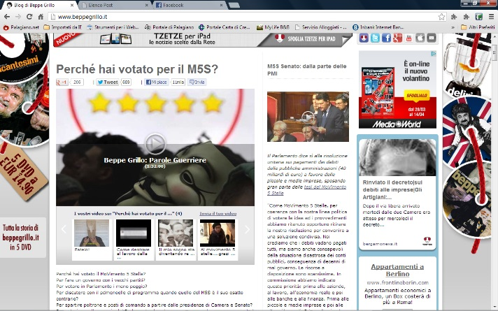 Commento cancellato sul blog di Beppe #Grillo. Il mio. Ecco le prove.