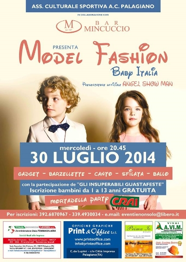 """A Palagiano selezione del concorso di bellezza """"Model Fashion Baby"""""""