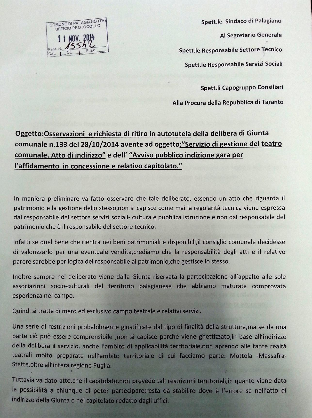 """i Monelli: """" ritiro in autotutela dell'avviso pubblico  per la gestione del teatro comunale"""""""