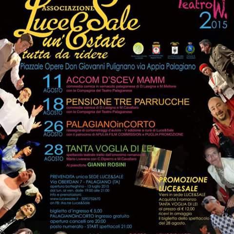 Programma Spettacoli Teatrali Luce & Sale Agosto 2015