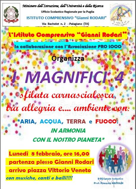 Carnevale a Palagiano: ARIA, ACQUA, TERRA e FUOCO, I magnifici 4…. elementi del nostro Pianeta