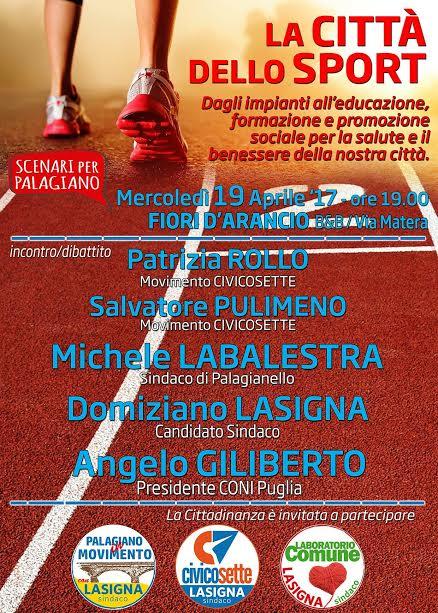 """Mercoledì 19 Aprile a Palagiano dibattito su """"LA CITTA' DELLO SPORT"""""""