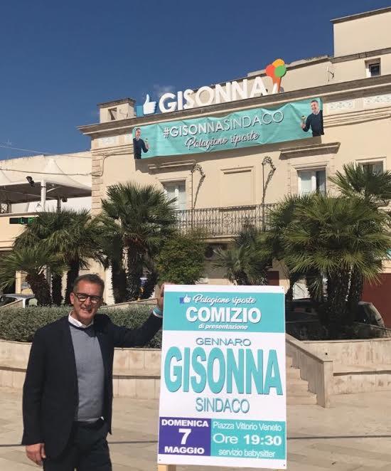 Palagiano domenica 7 maggio comizio Gisonna Sindaco