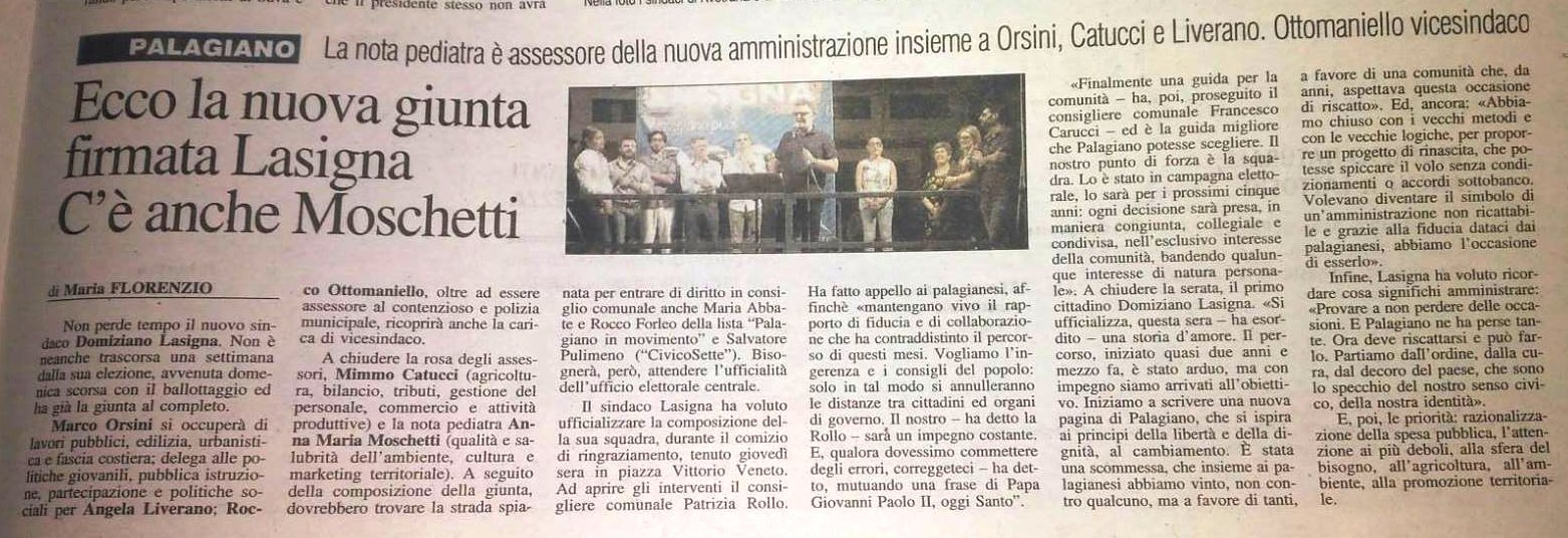Presentata la nuova giunta comunale a Palagiano