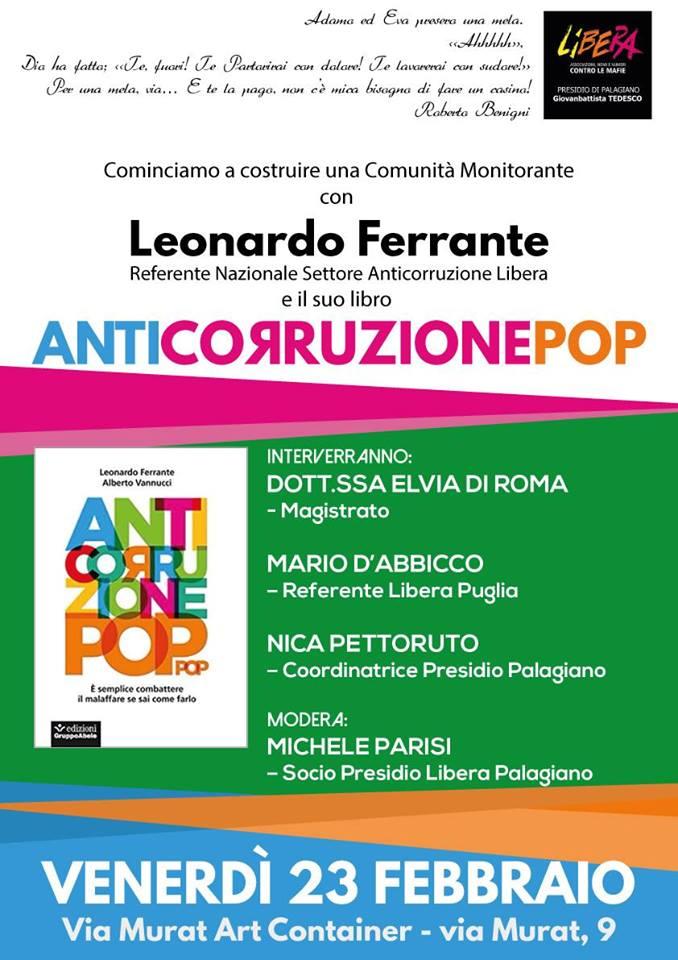 """A Palagiano si parlera' di """"Corruzione"""", una piaga che affligge più della stessa mafia."""