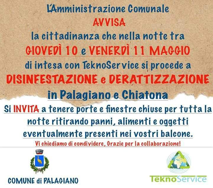 Avviso di disinfestazione a Palagiano