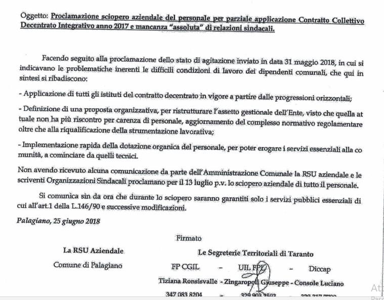 Sciopero del personale Comune di Palagiano il 12 Luglio 2018