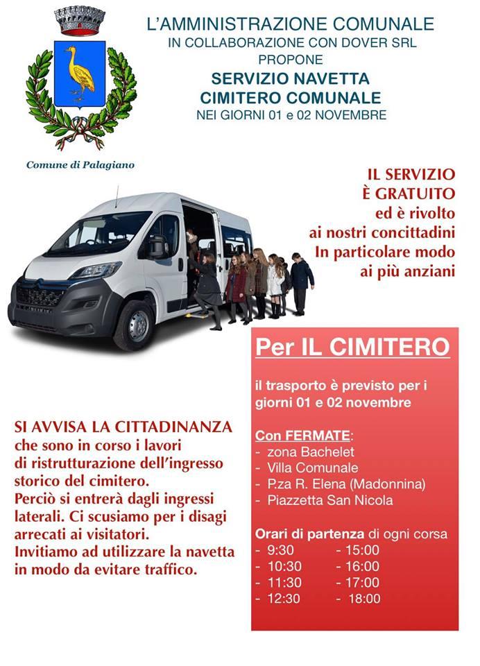 A Palagiano SERVIZIO NAVETTA per CIMITERO COMUNALE NEI GIORNI 01 e 02 NOVEMBRE.