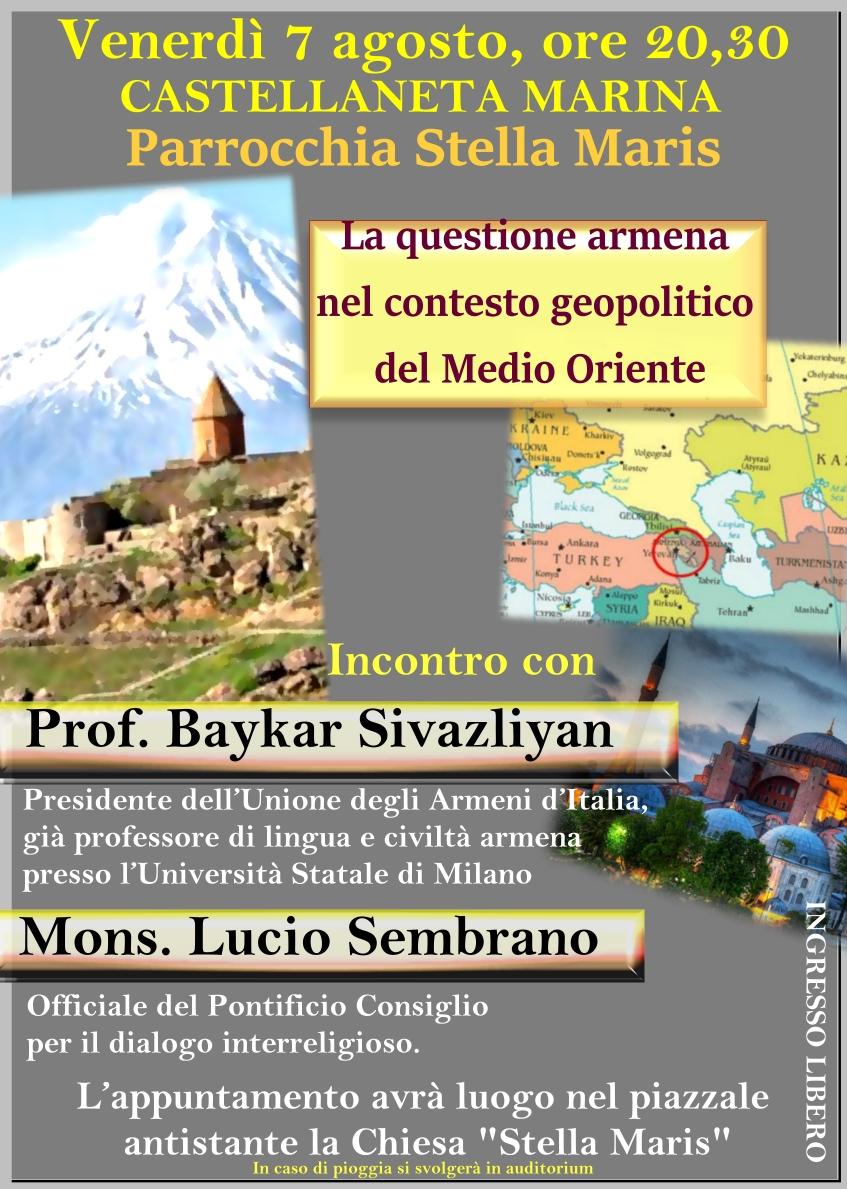"""A Castellaneta Marina """"La questione armena nel contesto geopolitico del Medio Oriente"""""""